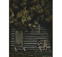 """Original Oil painting Art """"Chit Chat"""" sisters Photographic Print"""