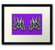 Ripping Monster Claws Demon Inside Green Teal Framed Print