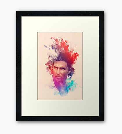 Matthew McConaughey Ink Watercolor Splash Portrait True Detective Framed Print