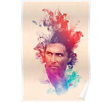 Matthew McConaughey Ink Watercolor Splash Portrait True Detective Poster