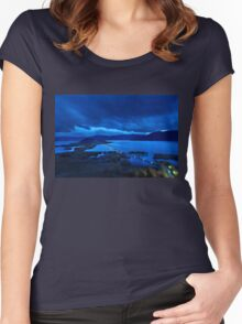 The floating bridge of Agios Achileios Women's Fitted Scoop T-Shirt