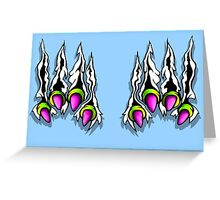 Ripping Monster Claws Demon Within Lime and Pink Greeting Card