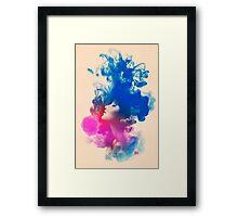 Psychedelic Ink Splash Watercolor Girl Portrait Framed Print