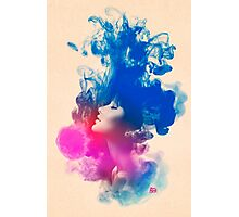 Psychedelic Ink Splash Watercolor Girl Portrait Photographic Print