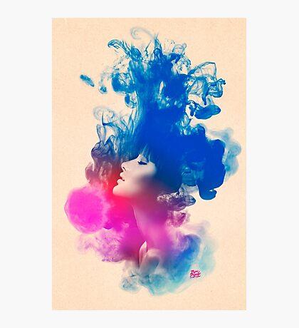 Psychedelic Ink Splash Watercolor Girl Portrait Photographic Print