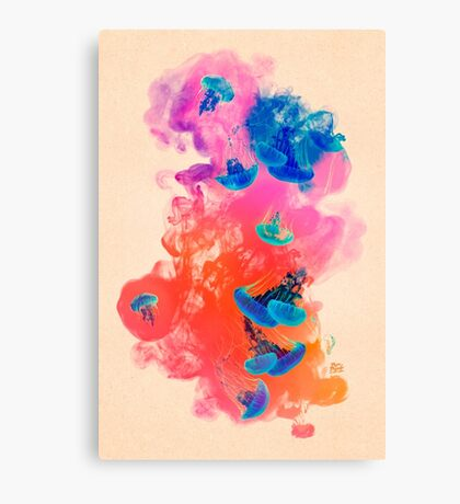 Psychedelic Ink Jellyfish Dream Watercolor Canvas Print
