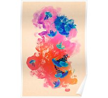 Psychedelic Ink Jellyfish Dream Watercolor Poster