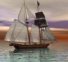 Schooner on a Texas Coast Sunset by Sazzart
