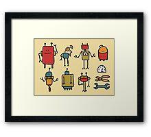 Retro robots. Framed Print