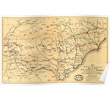 Civil War Sherman's March from Atlanta to Goldsboro Map Poster