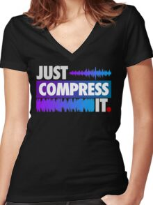 Just Compress It (Color Edition) Women's Fitted V-Neck T-Shirt