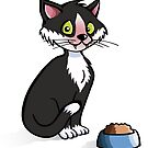 Cat with food bowl by Colin Cramm
