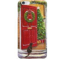 Red front door, decorated for the Holidays. iPhone Case/Skin