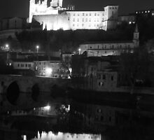 The 13c Cathedral Of Beziers and medievil bridge over the Orb France by Paul Pasco
