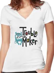 Trouble Maker born bad 2 Women's Fitted V-Neck T-Shirt