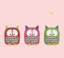 Three Owls Fabric Collage Kids Clothes