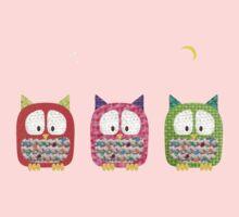 Three Owls Fabric Collage Kids Tee