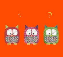 Three Owls Fabric Collage Kids Tee