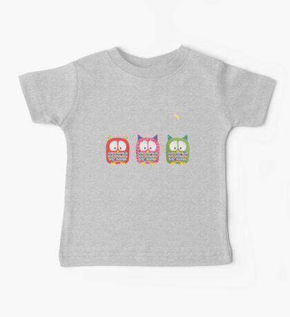 Three Owls Fabric Collage Baby Tee