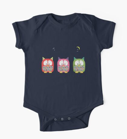 Three Owls Fabric Collage One Piece - Short Sleeve