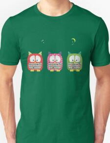 Three Owls Fabric Collage Unisex T-Shirt