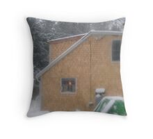 Kitchen Light in Snowstorm Throw Pillow