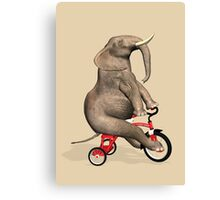 Elephant On Red Tricycle Canvas Print