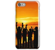 Children silhouettes on a  sunset beach iPhone Case/Skin