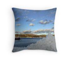 Frigid Ferry Crossing Throw Pillow