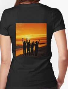 Children silhouettes on a  sunset beach Womens Fitted T-Shirt