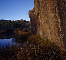 Rock Face And Grass by JL Woody Wooden