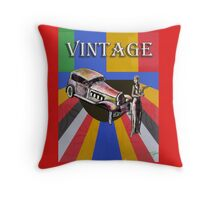 Vintage car and fashion figure Throw Pillow