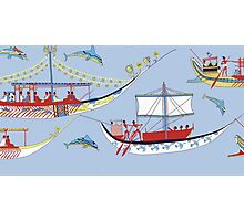 Minoan Miniature Frieze Admirals Flotilla Shipping Fresco Art Photographic Print