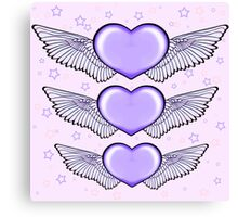 Love Heart Wings Design Lilac Canvas Print