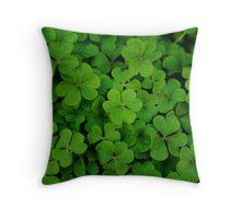 Lucky Green Clover Patch Throw Pillow