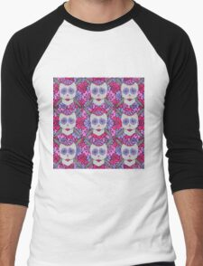 Knit Sugar Skull. Men's Baseball ¾ T-Shirt