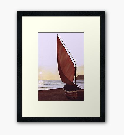 Red Sail in the Sunset Framed Print