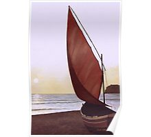 Red Sail in the Sunset Poster