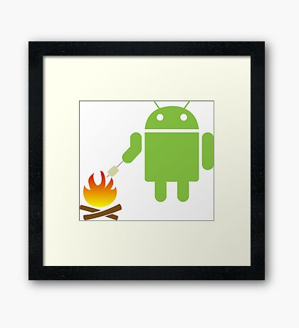 Android eats a marshmallow Framed Print