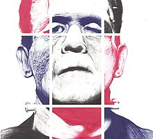 Frankenstein's Monster, A ball point pen portrait.  by Roger Price