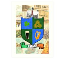 Coat Of Arms - Ireland - Shield and Sword Art Print