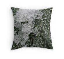 Snowy Fir Branch Throw Pillow