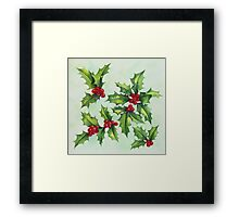 Watercolour holly and berries Framed Print