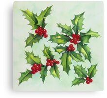 Watercolour holly and berries Canvas Print