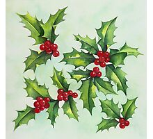 Watercolour holly and berries Photographic Print