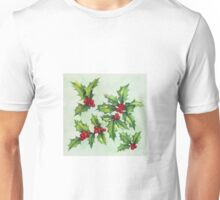 Watercolour holly and berries Unisex T-Shirt