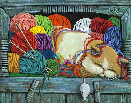 Knitting Vibes - cat portrait oil painting by LindaAppleArt