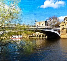 York City Lendal bridge with textured background by Robert Gipson