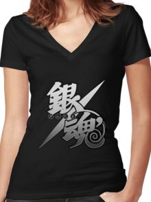 Gintama white logo Women's Fitted V-Neck T-Shirt
