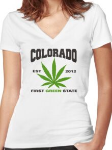 Marijuana Colorado First Green State Est 2012 Women's Fitted V-Neck T-Shirt